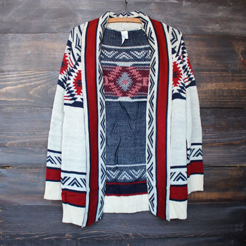 mod lightweight tribal cardigan aztec rust sweater burgundy indie fashion southern southwestern bohemian women's clothing fall winter hippie