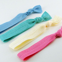 Set of 4 Knotted Elastic Hair Ties Bracelets - Ponytail shabby chic party favor blue turquoise ivory pink - Élastiques - Ready to ship