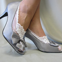 Lace socks for heels white  lace great for bridal wedding shoes lace slippers footlets lace peep socks  Catherine Cole