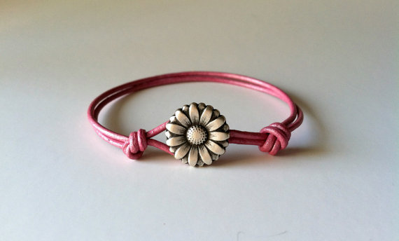 Daisy Flower Bracelet, Charm Bracelet, Button Bracelet- Available in 6 color choices