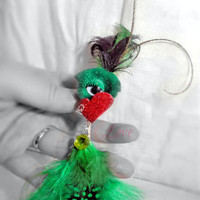 Brooch Pin Pendant Monster, Creature, Critter- Wire Wrap, Feathers, Pompom, Crystal Clover Bead, Glitter Heart, Dots OOAK Jewelry