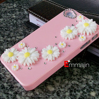 Pink   Bling Crystal iPhone 4 ,iphone 4S  ,white chrysanthemum iphone case,handmade