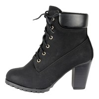 Womens Faux Leather Lace Up Rugged High Heel Ankle Boots Black