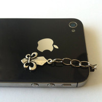 Hand-Assembled Custom Earphone Jack Plug Charm- Fleur De Lis