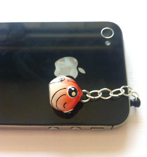 Hand-Assembled Custom Earphone Jack Plug Charm- Fish