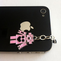 Hand-Assembled Custom Earphone Jack Plug Charm- Pink Robot
