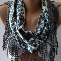 Blue Elegance  Shawl / Scarf with Lacy Edge- Blue -  Leopard..