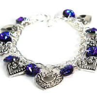 Royal Purple Corazon Charm Bracelet with Heliotrope Heart Swarovski Crystals