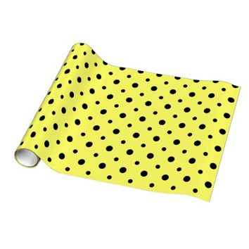 Cute Polka Dots, Yellow & Black Gift Wrap