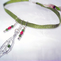 Nature Necklace - Wire Wrap Leaf Jade & Wood Beads Parrot Feather Peace Charm -OOAK Jewelry