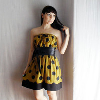 Mustard-black polka dot strapless dress - Summer Fashion - Sizes from XS to XL