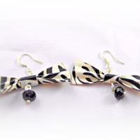Earrings- Zebra Print Duct Tape Bows/  Crystal Beads/ Black and White - OOAK Jewelry