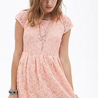 Pleated Lace Flare Dress