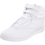 Reebok Women`s Freestyle Hi Lace-up Fashion Sneaker,White/White/White,8.5 M US