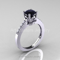 Classic 14K White Gold 1.0 Carat Black Diamond White Diamond Solitaire Wedding Ring R101-14WGDBD