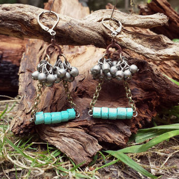 Rustic flavour Earrings. Metal and Turquoise Andean Ceramic Earrings. Tribal findings Earrings. Handmade Jewelry. Corinne Earrings