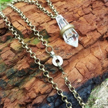 Brass Chain and Old Crystal Necklace. Handmade Jewelry. Casual Glam Rock Necklace. Steampunk Charm Amulet. The Married