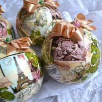 Vintage French Style Christmas Baubles