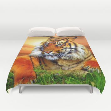 Tiger and Sunset Duvet Cover by Erika Kaisersot