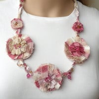 Pink White Cream Gold Silk Fiber Necklace 5 Rosette Flowers Fabric Jewelry Silk & Beads One of a Kind Fabric Necklace Unique Shabby Chic