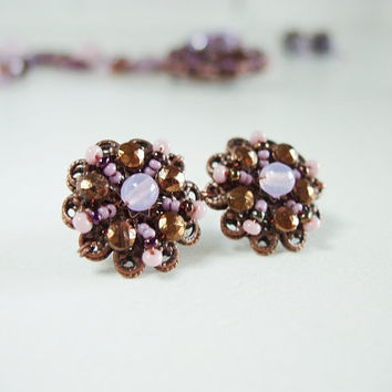 Purple and Bronze Stud Earrings Violet Lilac Post Earrings with Vintage Nailhead Beads Earrings Wedding Jewelry Studs