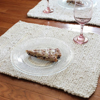 White & Cream Placemats Knitted Artisan Upcycled T Shirts Cottage French Country Trivets Dining Room (set of 2) --US Shipping Included