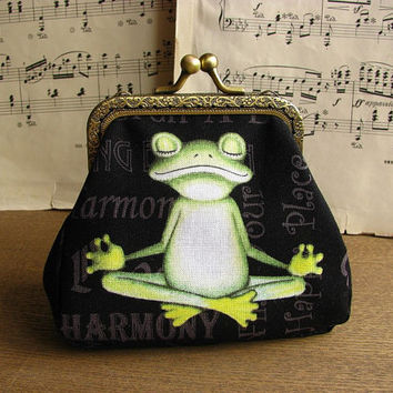 Coin purse clutch with yoga frogs