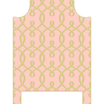 Wall Decal Headboard - Trellis - Faux Gold and Pink - Twin