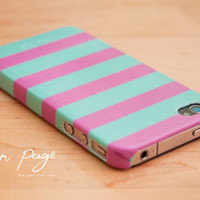 iphone 4 case , iphone 4s case , case for Iphone 4 Blackberry mobile Case handmade: Horizontal stripes(Pink and Turquoise color )