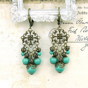 Jade Vintage Style Earrings - Swarovski Pearl Antique Bronze Filigree Chandelier Earrings - Brass Teal Jade Antique Style Filigree Earrings