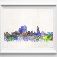 Asuncion Skyline, Watercolor, Paraguay, Poster, Dorm, Print, Room, Cityscape, Painting, Illustration Art Paint, Wall, Home Decor [NO 626]