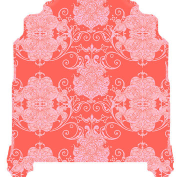 Wall Decal Headboard - Swirly Damask - Curvy Top - Brick Red and Pink - Twin