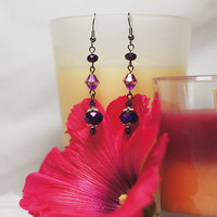 Pretty dangle earrings - Purple Swarovski crystal and silver 3 drop dangle earrings