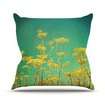 Kess InHouse Sylvia Cook 'Yellow Flowers' Outdoor Throw Pillow, 16 by 16-Inch