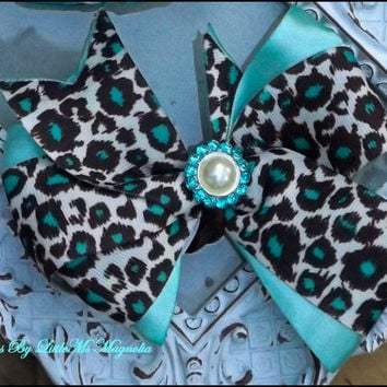 "Blue and Brown Cheetah Hair Bow For Toddler Girls and Little Girls ""Hue Of Blue"" Little Girls Hair Clip"