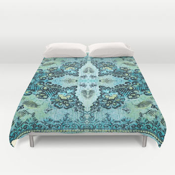 Butterflies and Roses Duvet Cover by Fischer Fine Arts
