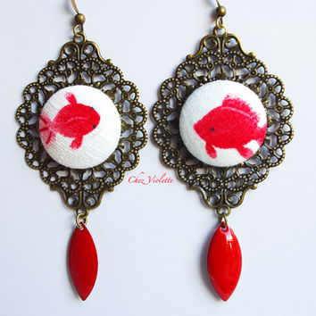 Red Koi fish earrings Japanese Fabric earrings