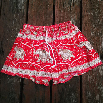 Red Elephant Shorts Print Beach Hippie Tribal pants Gypsy shorts Tribal Boho Clothing Clothes Hipster elephants Wome Hippy Dress Tank