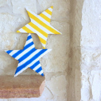 Striped Star Home Decor / set of 2 / Whimsical Home Decor / Yellow and Blue stripes / Bamboo and Stucco / wall art