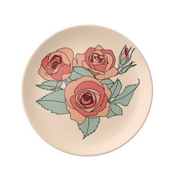 Hand Drawn Rose Flower Decorative Porcelain Plate
