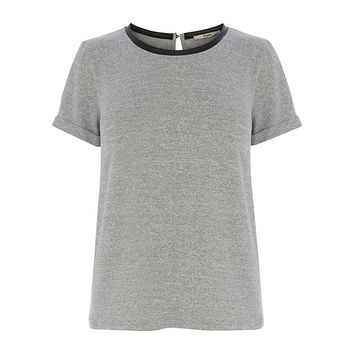 Buy Oasis Short Sleeved Sweater with Faux Leather Trim, Grey Marl | John Lewis