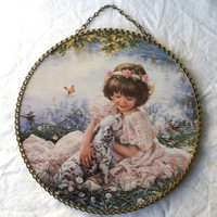 Wall Art, Flue Cover, Little Girl with Dalmation Puppy Print with Metal Chain Link Rim & Hanger, Illustration by Sandra Kuck