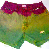 Rasta Colored Distressed and frayed Studded Dip Dyed High Waisted Calvin Klein Shorts weed ombre denim
