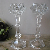 2 upcycled Starburst Crystal candlesticks ... Lovely elegant candle holders