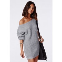 Missguided - Ayva Slash Neck Knitted Dress Grey