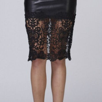 Leather & Lace Skirt