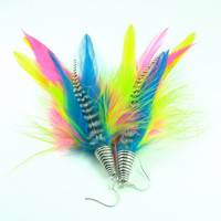 Neon Rainbow - Feather Earrings