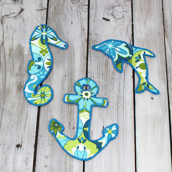 Ocean Beach Christmas Ornament Blue and Green Collection with Seahorse, Dolphin and Anchor