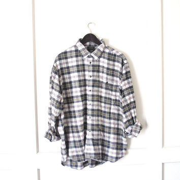 vintage plaid FLANNEL shirt / NIRVANA early 90s GRUNGE sears relaxed fit flannel