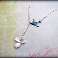 Silver Orchid and Patina Brass Sparrow Lariat by SapphiraDesigns
